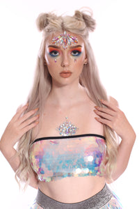 Iridescent Unicorn Tears Sequin Tube Top