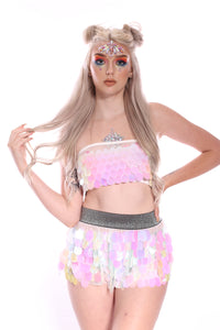 Cotton Candy Mini Sequin Skirt