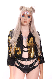 Reversible Sequin Jacket - Black & Gold