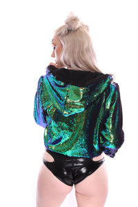 Reversible Sequin Jacket - Peacock