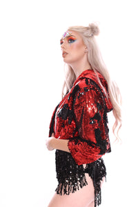 Reversible Sequin Jacket - Black & Red