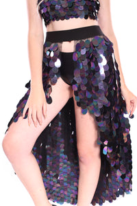 Dark Ocean Goddess Tapered Sequin Skirt