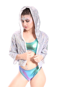Reversible Sequin Jacket - Silver Hologram