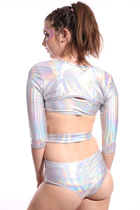 Hyperspace Buckle Up Sleeve Crop Top