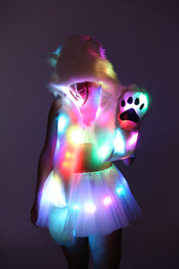 LED Fur Hood - Fuzzy Animal Rave Spirit Hood