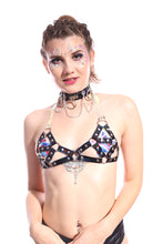 Hoop Chain Chocker in Black Hologram
