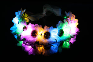 ORIGINAL LED Flower Crown - White Daisy & Flash Rainbow Lights