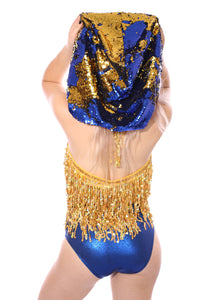 Reversible Sequin Hood - Blue & Gold