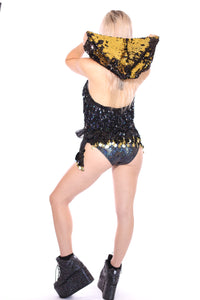 Reversible Sequin Hood - Gold & Black