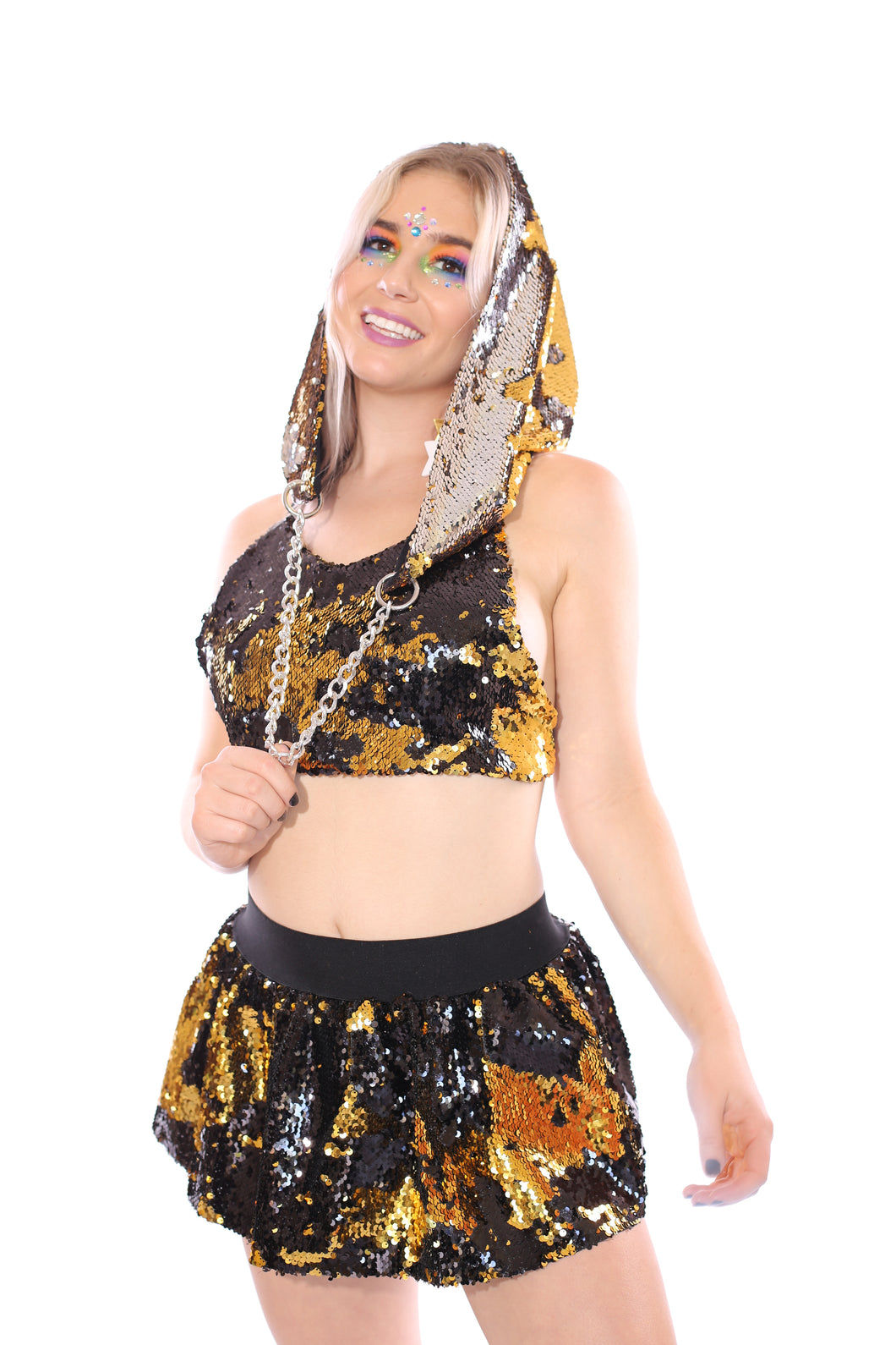 Reversible Sequin Hood - Gold & Silver