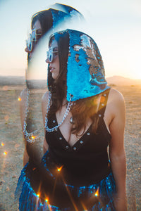 Reversible Sequin Hood - Sky Blue