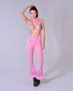 Pink Vegan Leather Chain Harness Top