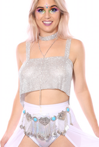LAST CHANCE Goddess Body Jewelry - Crystal Gem Top in Silver