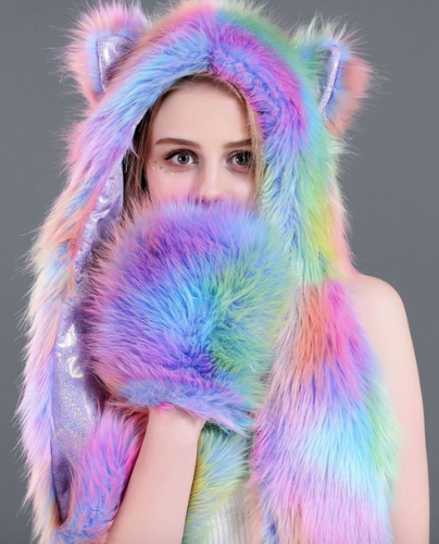Nocturnal Wonderland Tie Dye Animal Fur Hood