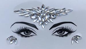 Silver Moon Rhinestone Crystal Face Jewels