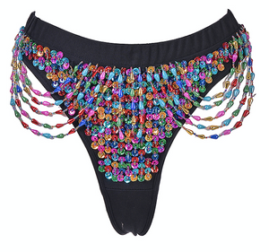 Hand-Stitched Low Waisted Sequin Shorts - Lucky Charms