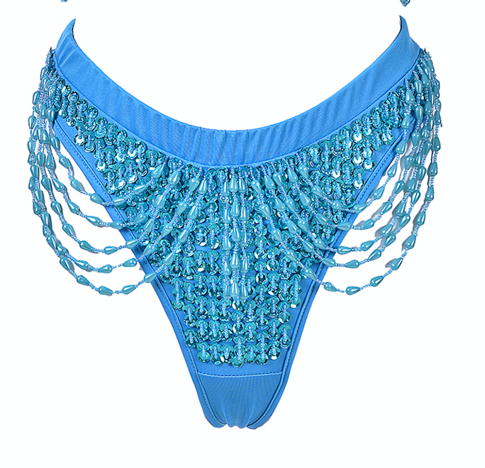 Hand-Stitched Low Waisted Sequin Shorts - Pixie Blue