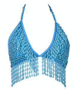Hand-Stitched Sequin Bra Top - Pixie Blue