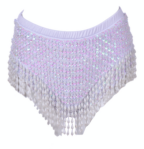 Hand-Stitched High Waisted Sequin Shorts - Techno Doll