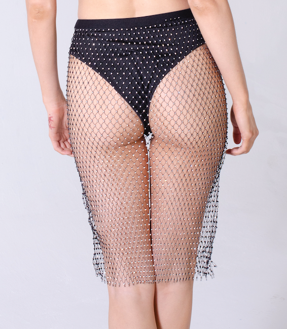 Black Crystal Fishnet Skirt