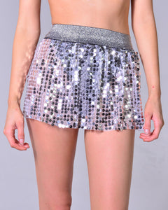 Mini Sequin Skirt - Silver
