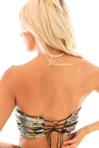2-Way Cosmic Rainbow Reversible Sequin Tube Top
