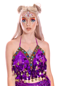 Violet Queen Coin Sequin Halter Top