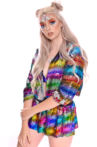 Reversible Sequin Jacket - Dreamy Rainbow
