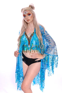 River Blue Coin Sequin Halter Top