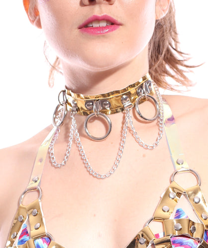 Hoop Chain Chocker in Gold Hologram