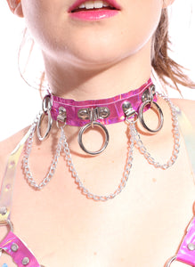 Hoop Chain Chocker in Rose Pink Hologram
