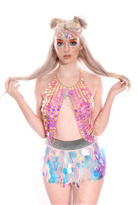 Pink Magic Chain Halter Top Body Jewelry