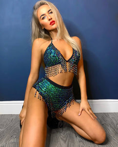 Hand-Stitched Sequin Bra Top - Chameleon