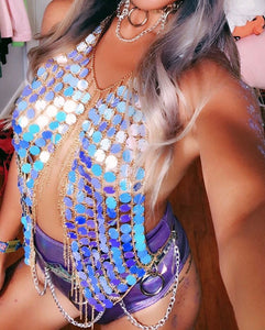 Iridescent Unicorn Tears Chain Halter Top Body Jewelry