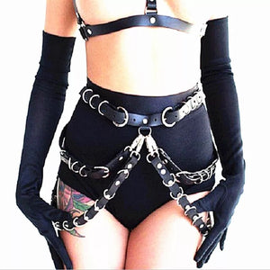 Black Black Angel Chain Vegan Leather Belt