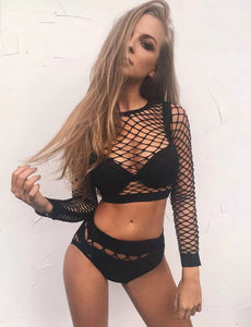 Black Fishnet Mesh Set (Top & Bottom)