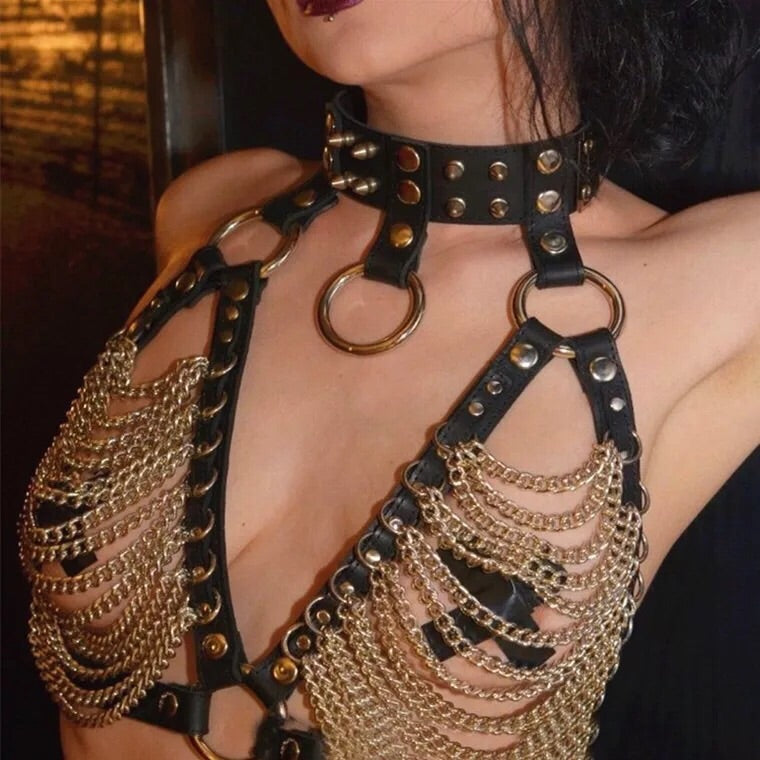 Burning Man Vegan Leather Chain Harness Top