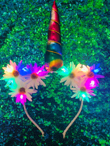 Original LED Ears - Rainbow Daisy Unicorn
