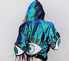 Reversible Sequin Jacket - Mermaid Cropped Disco Jacket (One Size)