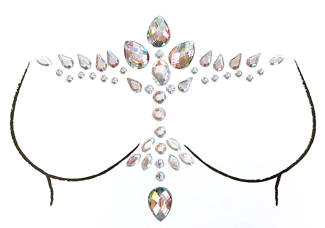 Crystal Dove Rhinestone Crystal Body Jewels, Chest Jewels