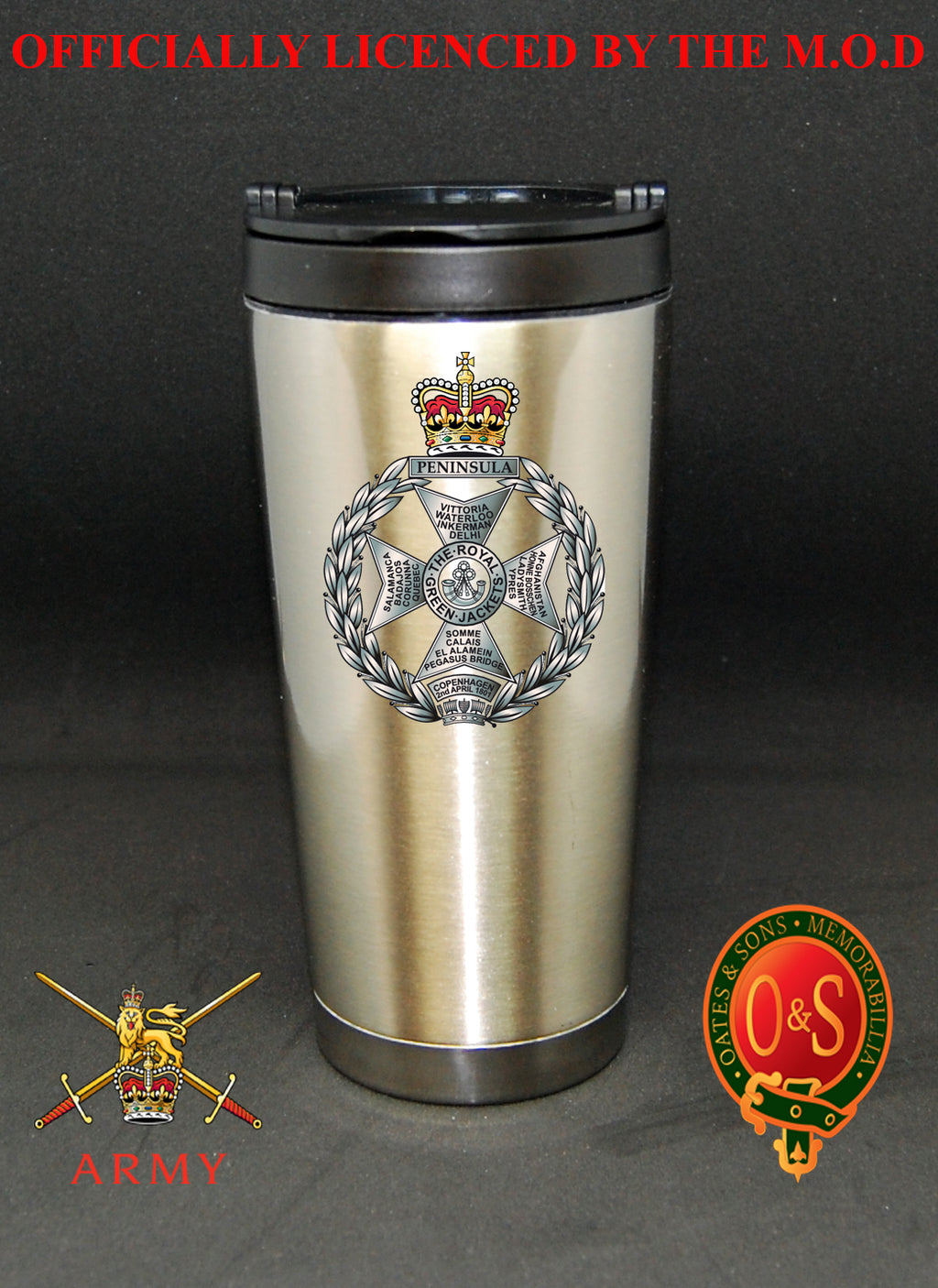 Royal Green Jackets 16 oz Stainless Steel Travel Mug