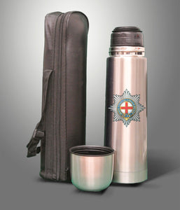 The Coldstream Guards 750ml Stainless Steel Flask with Faux Leather Carry Case