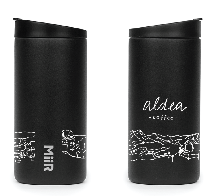 A mockup of the Aldea Coffee Miir Travel Tumbler.