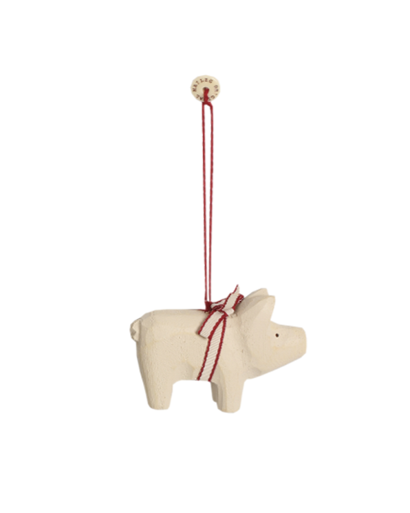 Micro Pig Ornament in White