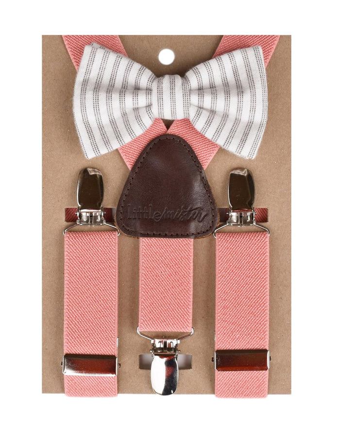 Suspender + Bow Tie Set in Coral + Charcoal Stripe