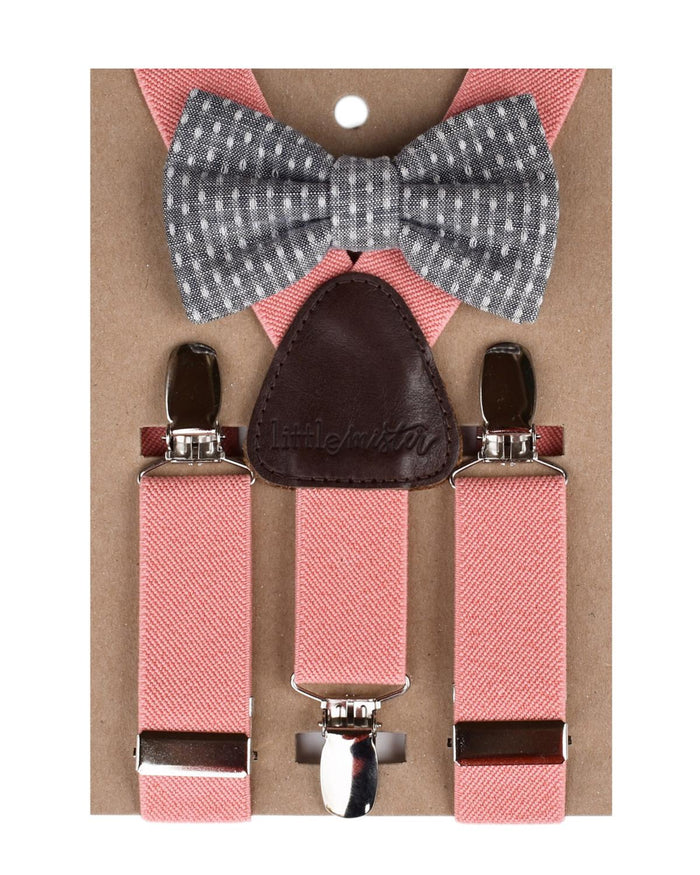 Suspender + Bow Tie Set in Coral + Polka Dot