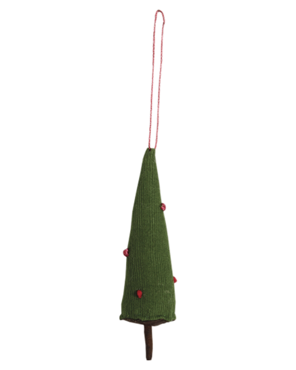 Tree Ornament in Green + Pink Dot