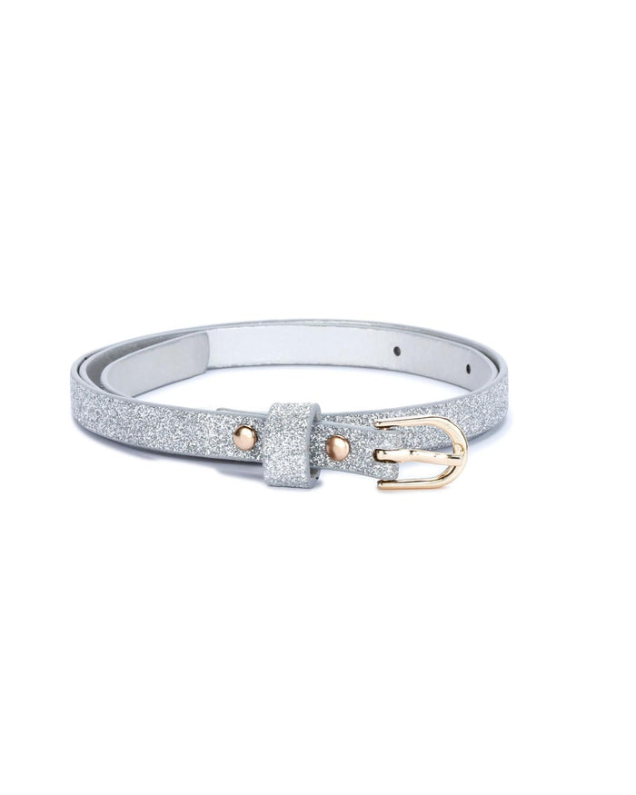 Ultra Skinny Sparkly Belt in Classic Silver