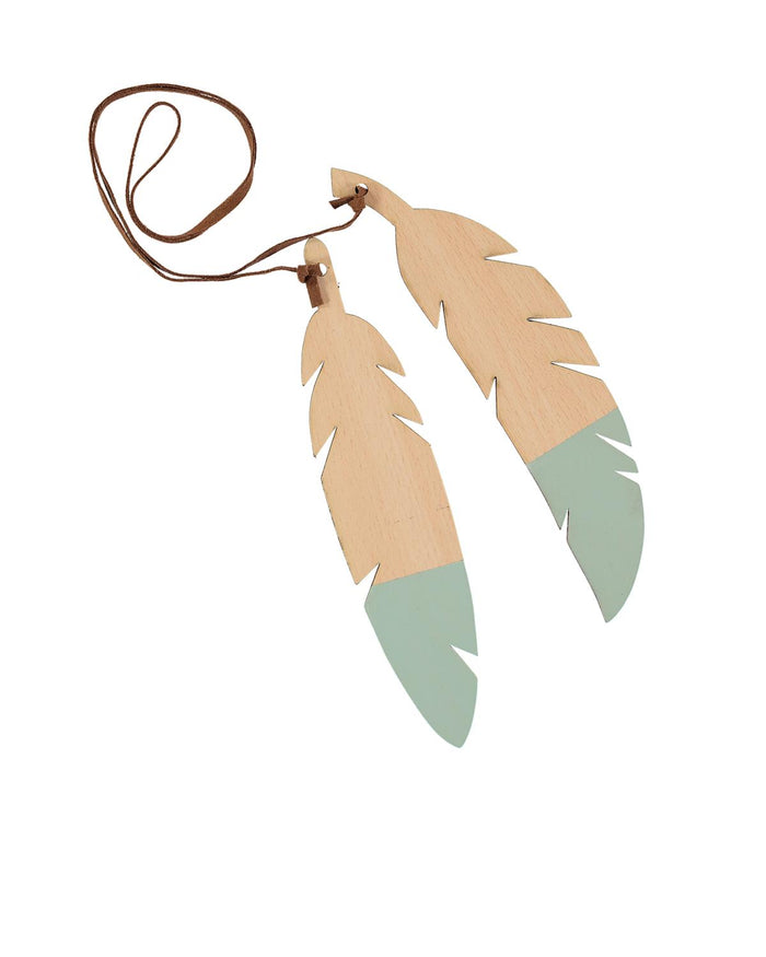 Wooden Feather Duo in Green