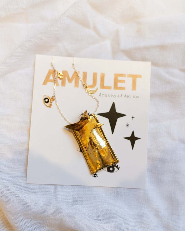Little atsuyo et akiko accessories amulet crystal necklace in foil gold